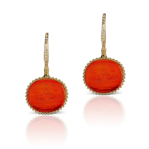 Orange Earrings in 18K Yellow Gold