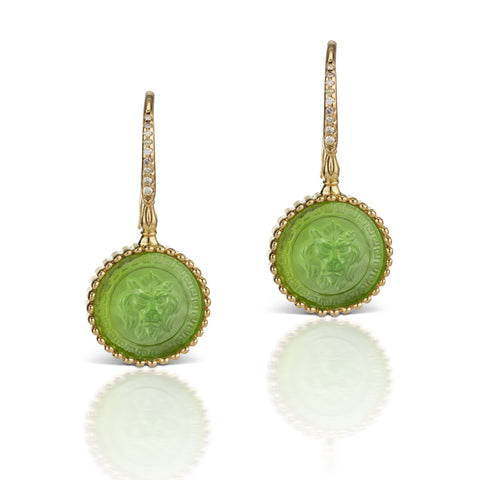 Apple Green Earrings in 18K Yellow Gold