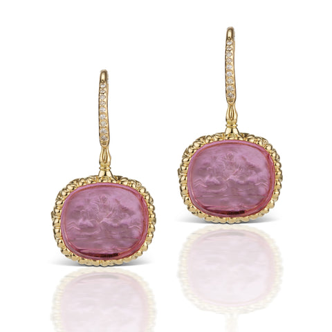 Pink Earrings in 18K Yellow Gold