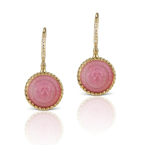 Pastel Pink Earrings in 18K Yellow Gold