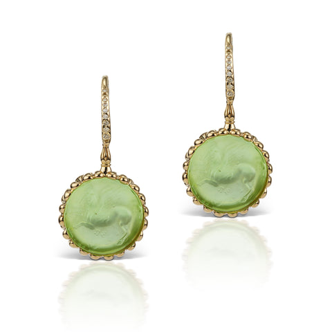 Pastel Green Earrings in 18K Yellow Gold