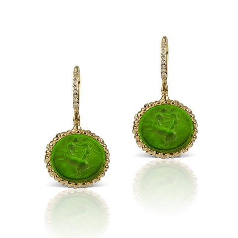 Emerald Green Earrings in 18K Yellow Gold
