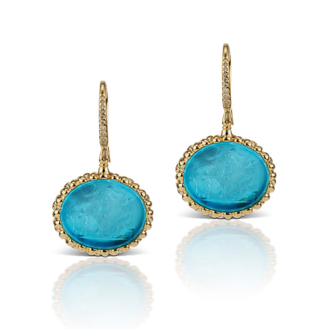 Paraiba Blue Earrings in 18K Yellow Gold