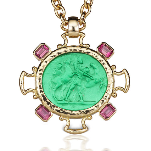 Green Intaglio & Pink Tourmaline Pendant in 18K Yellow Gold