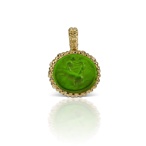 Emerald Green Pendant in 18K Yellow Gold