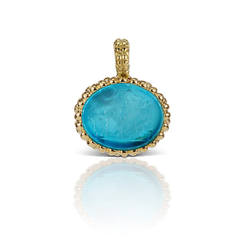 Paraiba Blue Pendant in 18K Yellow Gold