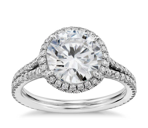 Studio Cambridge Halo Diamond Engagement Ring in Platinum