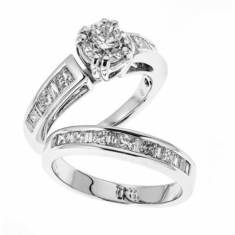 14K White Gold Engagement & Wedding Ring Set