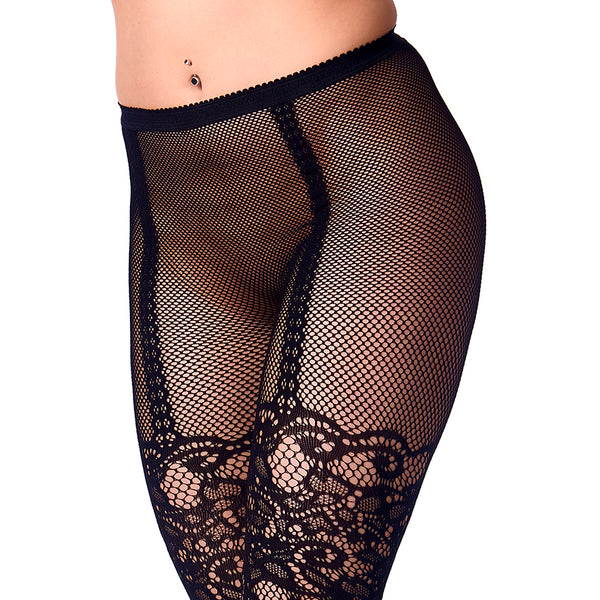 Black Fishnet Full Stocking Tights Flowers