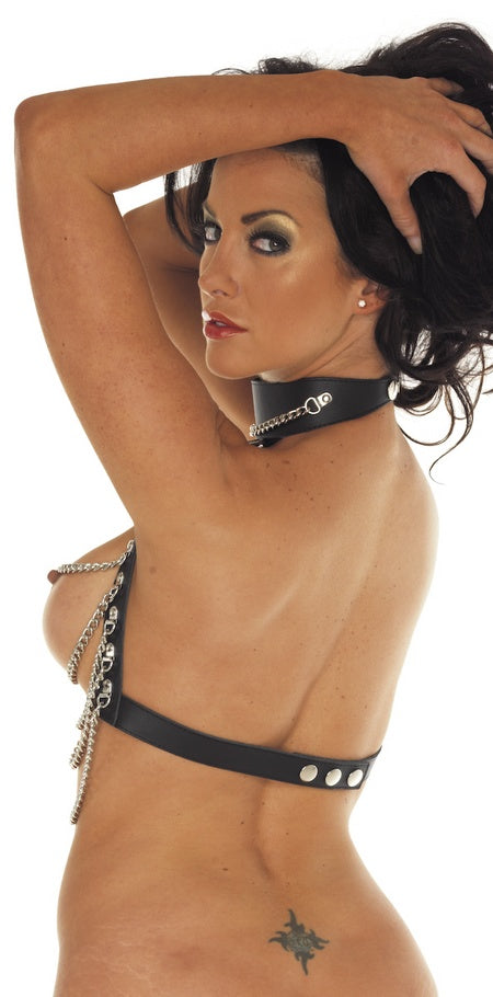 Leather and Chains Top Collar Bra