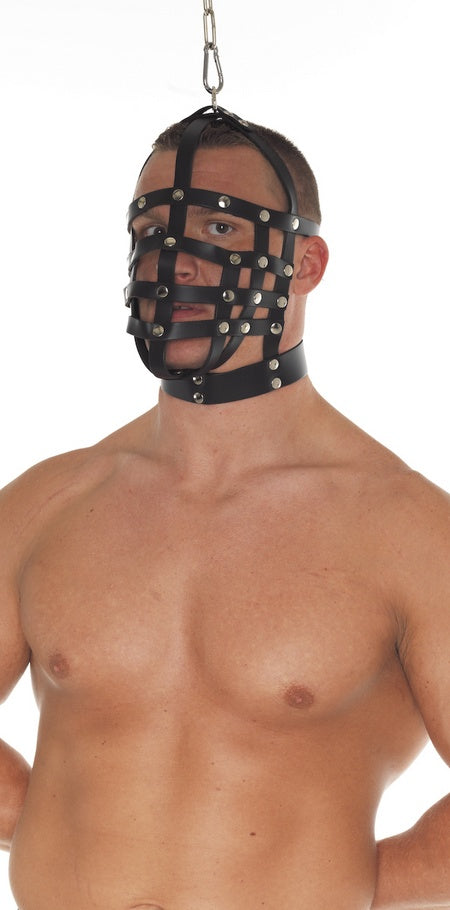 Leather Muzzle Mask with Top Hanging Ring