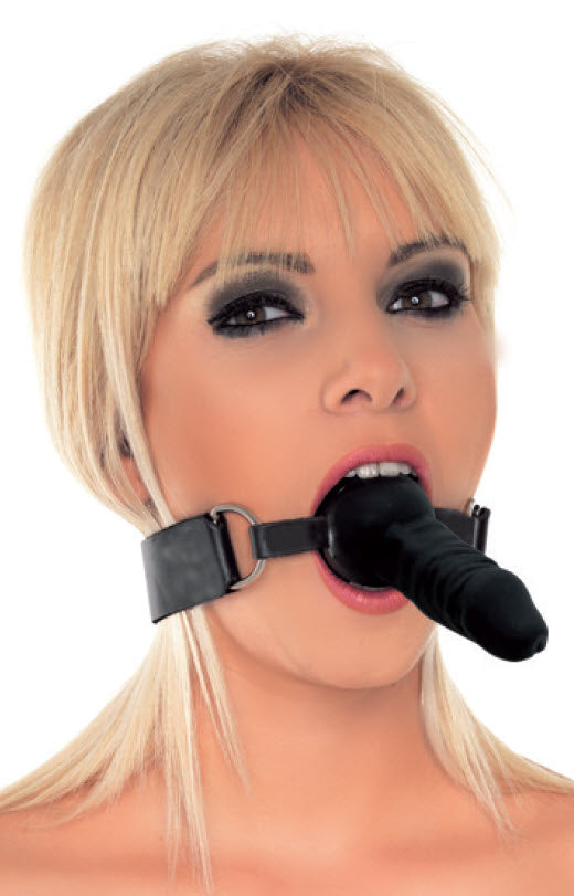 Black Silicone Mouth Gag with External Dildo