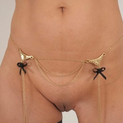 Gold Double Lace and Bow Dangling Waist Chain