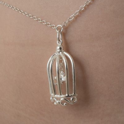 Silver Waist Chain with Bird in a Cage Pendant