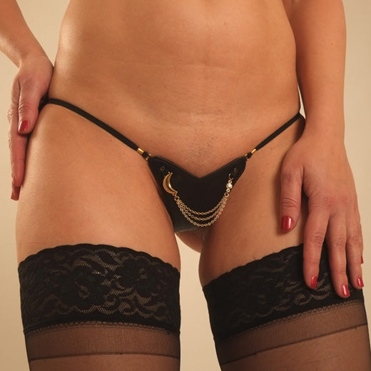 Women's Leather G-String with Gold Moon and Penetrating Finger