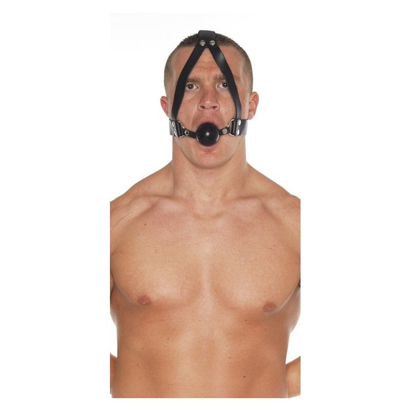Leather Collar and Headstrap with Rubber Ball Gag