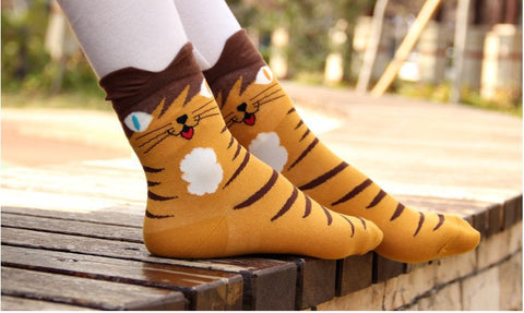 Cute Cotton Cat Socks (4 pairs)