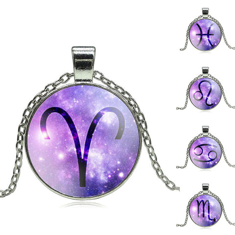 Glass Pendant Zodiac Necklace