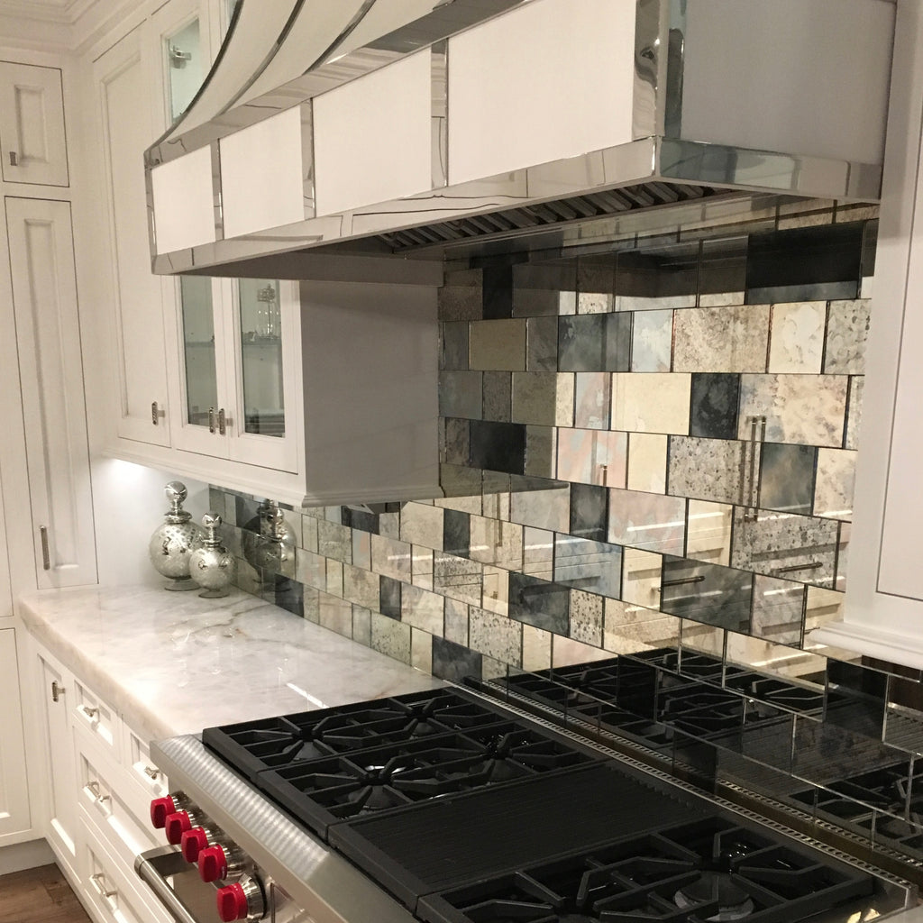 antique mirror tiles backsplash kitchen