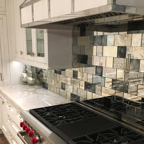 Antique mirror tiles kitchen backsplash strip tiles