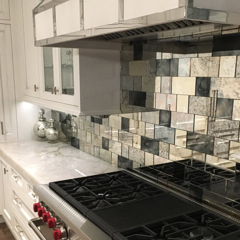 Antique Mirror tile backsplash