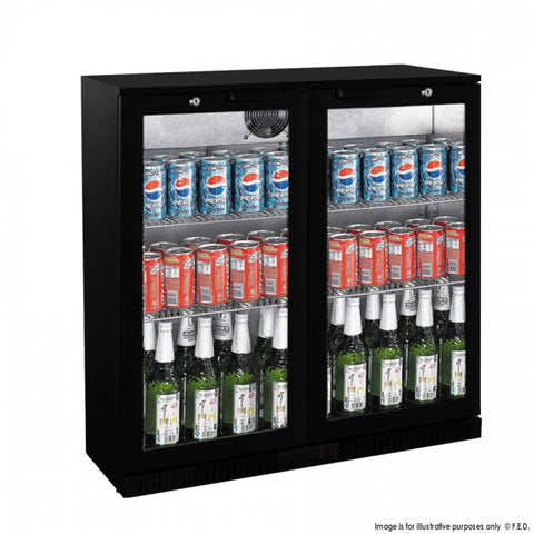 Fridge Alfresco Black Double Door Under Bench Bar