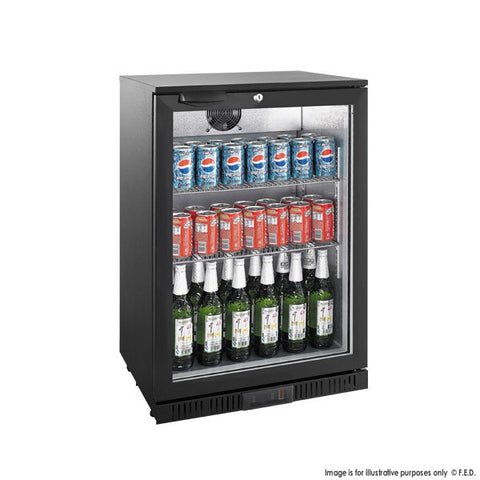 Fridge Alfresco Black Single Door Glass Bar Cooler Under Bench
