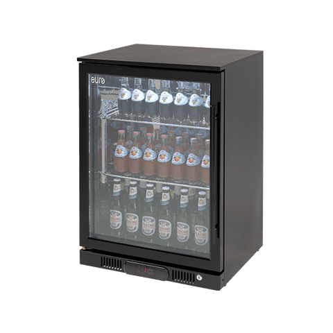 Fridge Euro Ea60wfbl Single 138l Glass Door Beverage Cooler Black