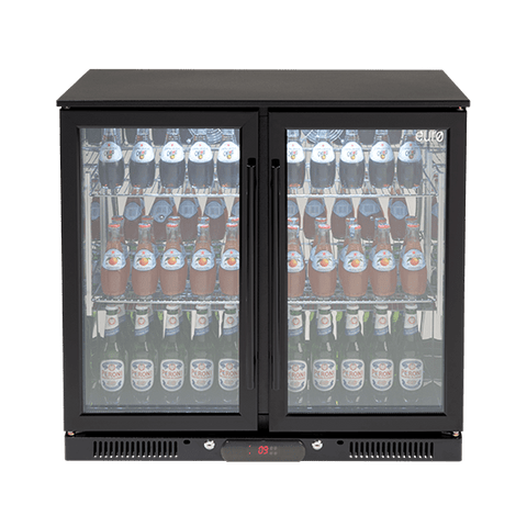 Fridge Euro Ea900wfbl Double Glass 208l Black Door Beverage Cooler
