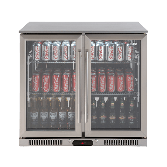 Fridge Euro EA900WFSX2 Double Glass 208L Stainless steel Door Beverage Cooler