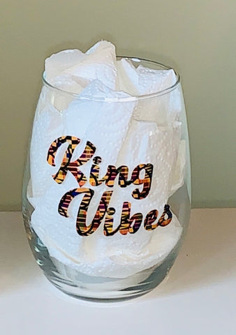 King Vibes African Print Stemless Glass