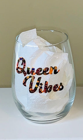 Queen Vibes African Print Stemless Glass