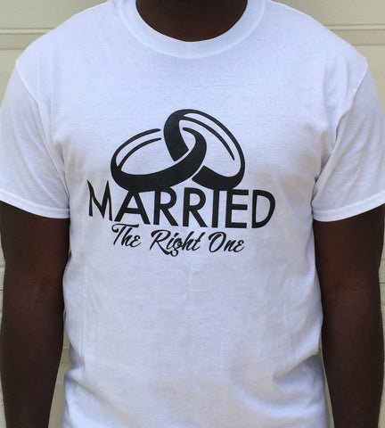 Tee Shirt - Married The Right One WHITE