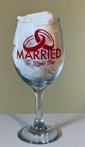 Red Customized Married The Right One Stemmed Wine Glass
