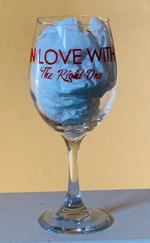 Red Customized In Love With The Right One Stemmed Wine Glass