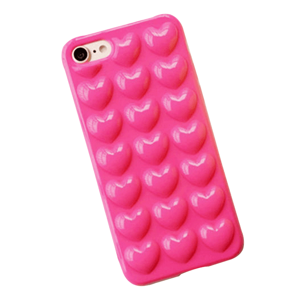 iPhone Case Corazones 3D - Fucsia