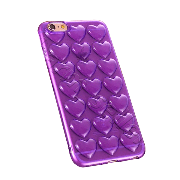 iPhone Case Corazones 3D - Morado