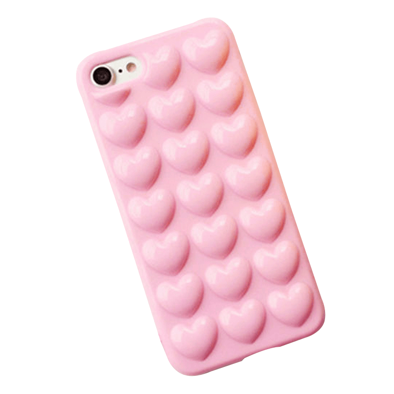 iPhone Case Corazones 3D - Rosa