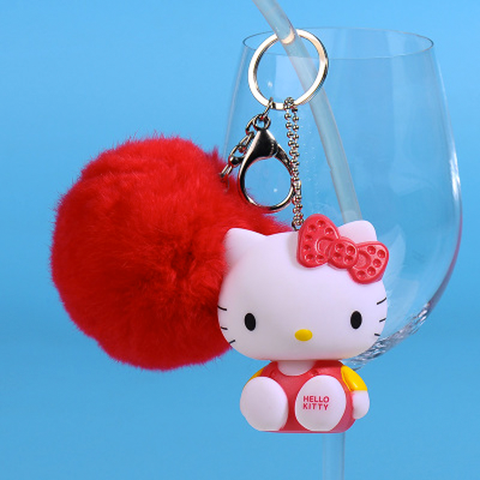 Llavero Hello Kitty con pompon - Rojo