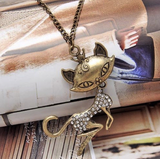 Retro Cat Girl Pendant Necklace