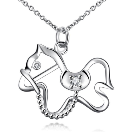 Cute Silver Horse Necklace