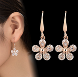 Gold Diamond Flower Earring