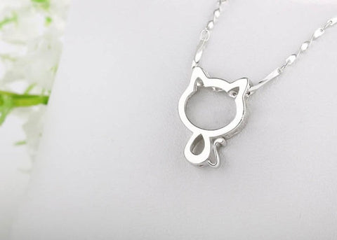 Platinum-Plated Cat Necklace