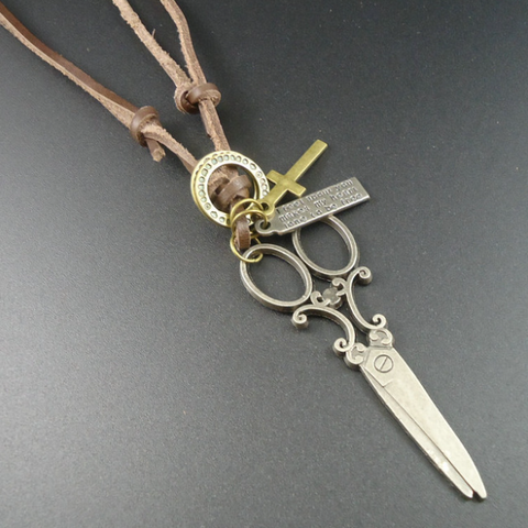 Vintage Scissors Pendant Necklace