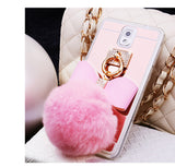 Metal iPhone Case Cover with Fur Ball