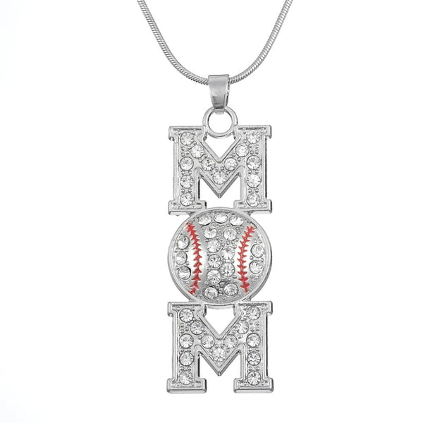 Mom Baseball Pendant Necklace