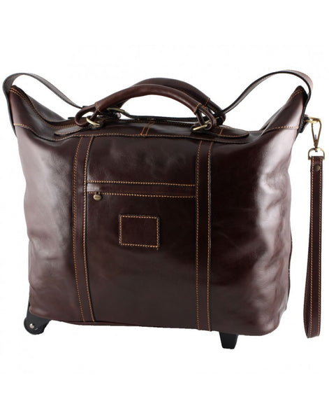 """Made In Italy"" Leather Travel Bag With Wheels - Markthalle - Leather Hand Luggage Large Purse Shop"