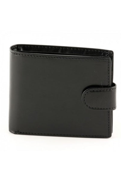 """Made In Italy"" Men's Leather Wallet -Bifold With Fastener - Leather Wallet Large Purse Shop"