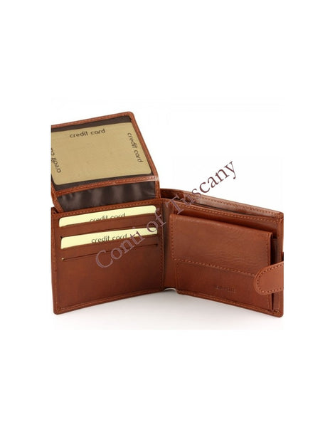 """Made In Italy"" Men's Leather Wallet -Bifold With Fastener"