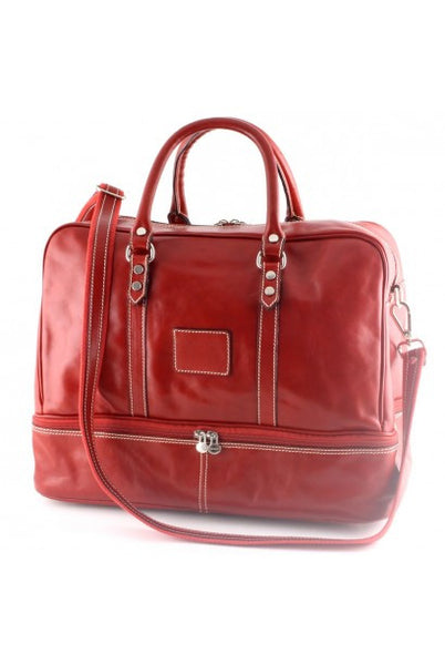 """Made In Italy"" Leather Hand Luggage Bag - Valencia City Hall - Red - Large Purse Shop - 5"